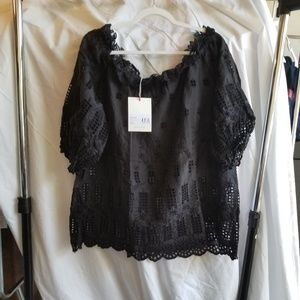 Johnny Was Embroider Off Shoulder Top Black XL NWT